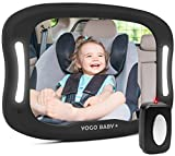Baby Car Mirror with Remote Control Soft Led Light Shatter-Proof Acrylic Baby Mirror for Car, Rearview Baby Mirror-Easily Observe Baby's Every Move, Safety and 360 Degree Adjustability