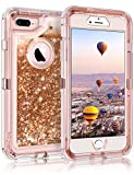 Coolden iPhone 6S Plus Case, Heavy Duty iPhone 6S Plus Protective Case Floating Bling Glitter Sparkle Shiny Quicksand Liquid Clear Shockproof Case Cover iPhone 6S Plus / 6 Plus (Rose Gold)