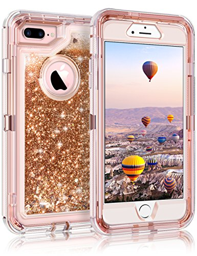 "iPhone 8 Plus Case, iPhone 7 Plus Case, Coolden 3D Glitter Sparkle Dual Layer Quicksand Liquid Cover Shockproof Bumper Anti-Drop PC Frame + TPU Back for 5.5"" Apple iPhone 7/8 + Plus (Light Coffee)"
