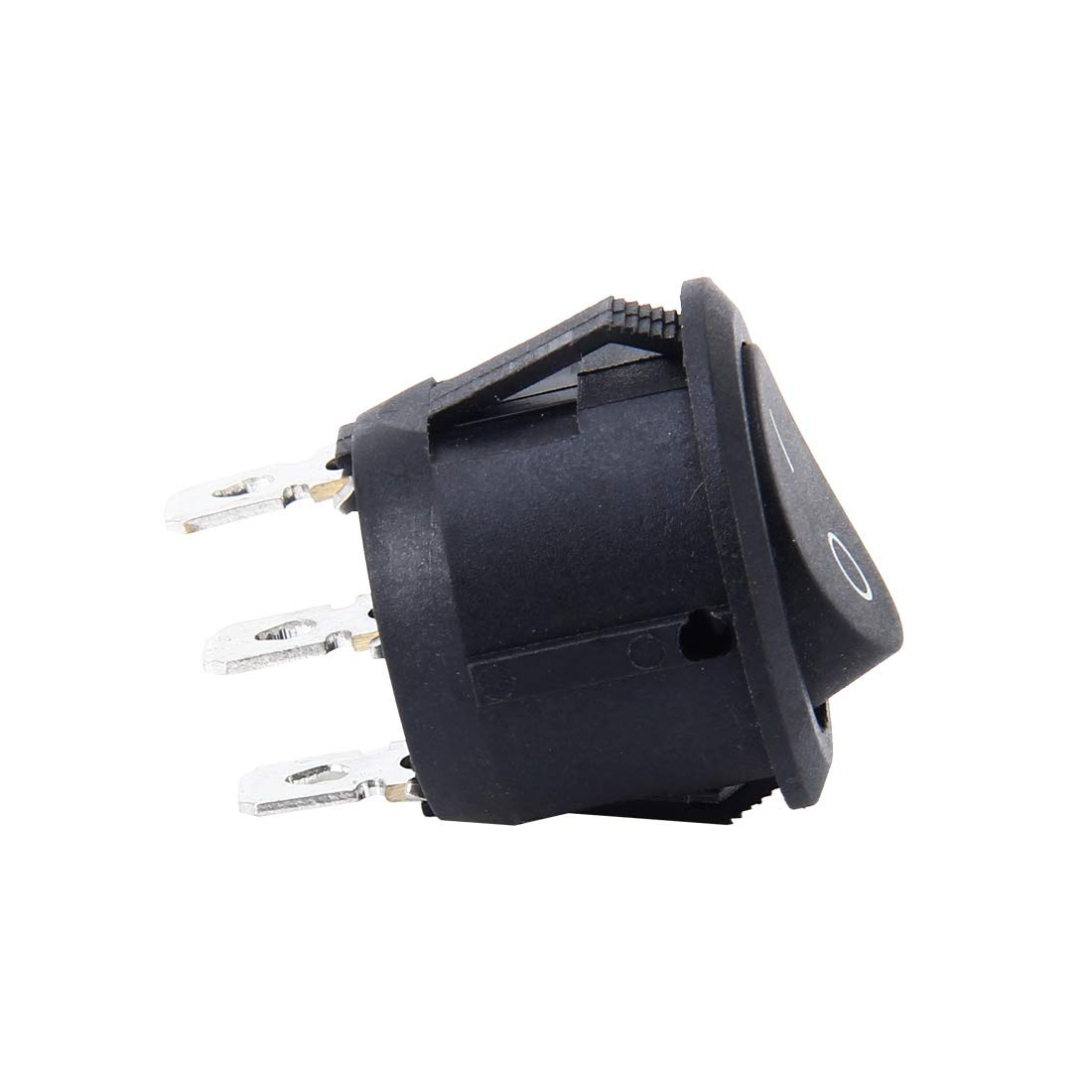 Voltury Interrupteur marche//arr/êt 2 broches 250 V 6 A 125 V 10 A 20 mm Rocker on off Noir