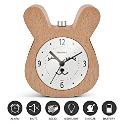 Table Alarm Clock-Fibisonic Yellow Rabbit Analog Snooze Small Cute Desk Quartz Clock Night Light and No Ticking Sound--Nice Gifts for Kids