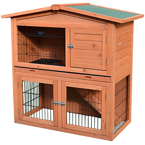 Pawhut 40' Wooden Rabbit Hutch Small Animal House Pet Cage