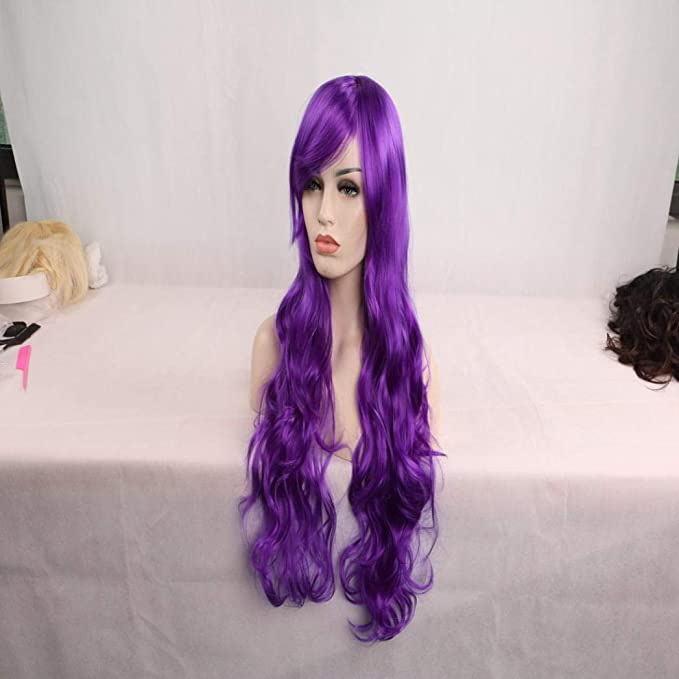 ... Full Wig for Women,Huphoon 1PC High-Temperature Resistance Fibr Synthetic Hair for Cosplay Halloween Party Dress up,31 inches (Purple): Office Products
