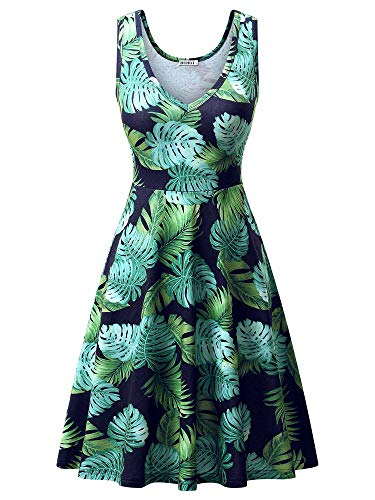 HUHOT Spring Dresses,Women's A Line Casual Midi Tank Hawaiian Print Dress