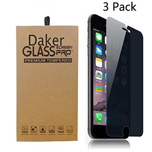 Daker iPhone 6 Plus, 6s Plus Screen Protector Privacy Anti-Spy Tempered Glass [Bubble Free] 9H Anti-Scratch for Apple iPhone 6 and iPhone 6s 4.7-Inch (3 Pack)