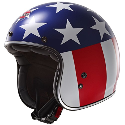 Easy Rider Motorcycle - LS2 Kurt Easy Rider Bobber Motorcycle Helmet (Red/White/Blue, X-Small)