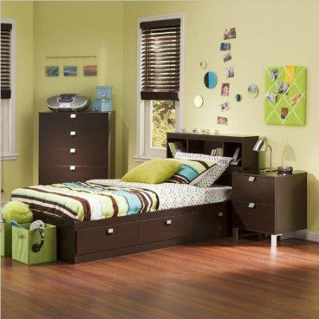 South Shore Cakao Kids 3-Piece Bedroom Set with Bookcase Headboard, Twin, Chocolate