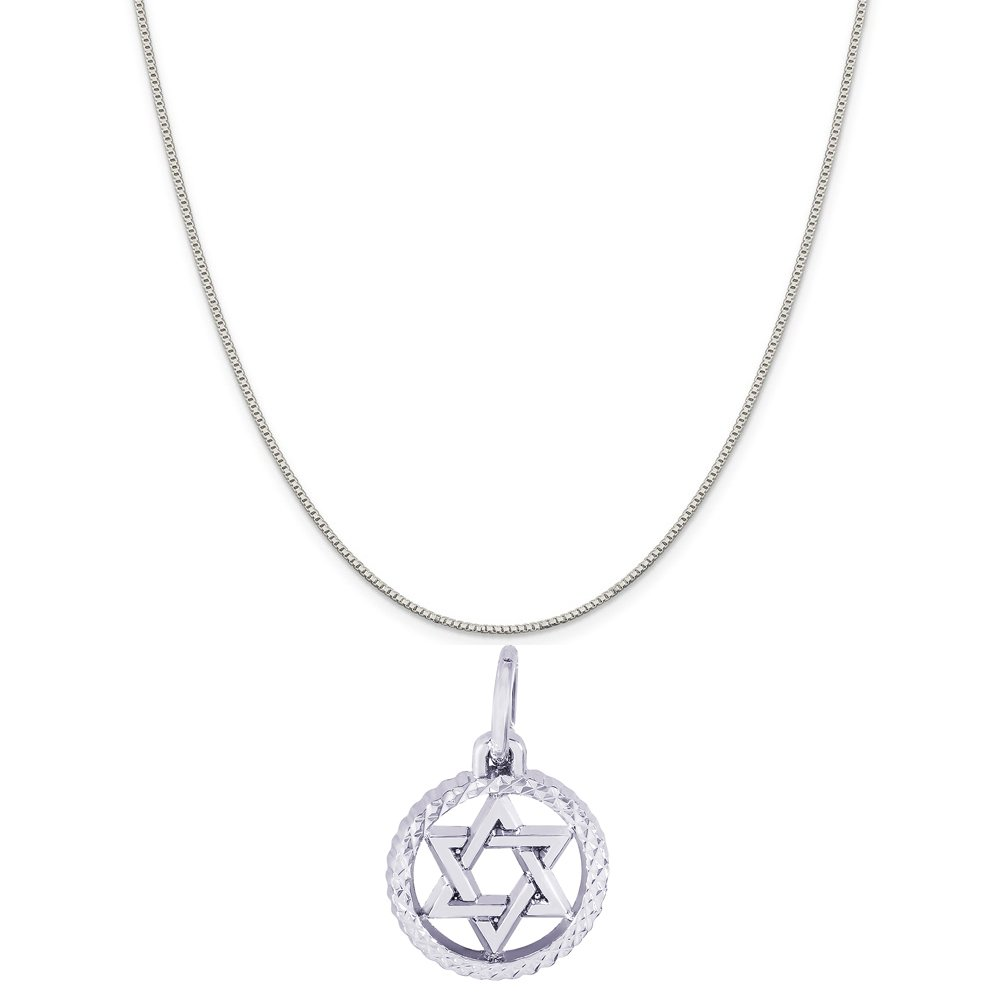 18 or 20 inch Rope Box or Curb Chain Necklace Rembrandt Charms Sterling Silver Star of David Faceted Charm on a 16