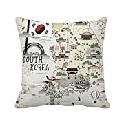 DIYthinker South Korea Map Landmarks Square Throw Pillow Insert Cushion Cover Home Sofa Decor Gift