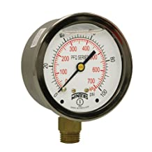 """Winters PFQ Series Stainless Steel 304 Dual Scale Liquid Filled Pressure Gauge with Brass Internals, 0-100 psi/kpa,2-1/2"""" Dial Display, +/-1.5% Accuracy, 1/4"""" NPT Bottom Mount"""