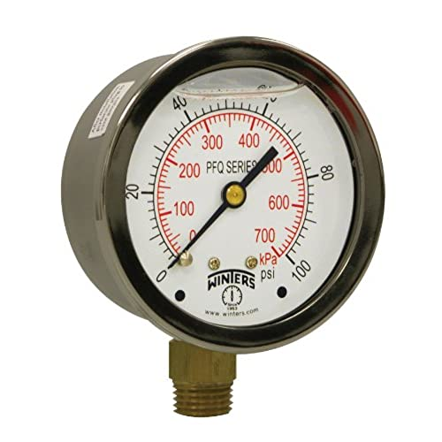 Pressure gauges amazon winters pfq series stainless steel 304 dual scale liquid filled pressure gauge with brass internals 0 100 psikpa2 12 dial display 15 accuracy altavistaventures Gallery