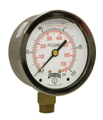 Winters PFQ Series Stainless Steel 304 Dual Scale Liquid Filled Pressure Gauge with Brass Internals, 0-100 psi/kpa,2-1/2