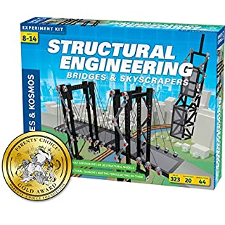 Thames & Kosmos Structural Engineering: Bridges & Skyscrapers | Science & Engineering Kit | Build 20 Models | Learn About Force, Load, Compression, Tension | Parents' Choice Gold Award Winner, Blue
