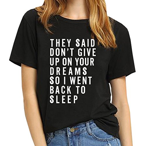 BLACKMYTH Women T shirt Grahpic Letter tee Shirt Fashion Short Sleeve Tops Summer Black Small