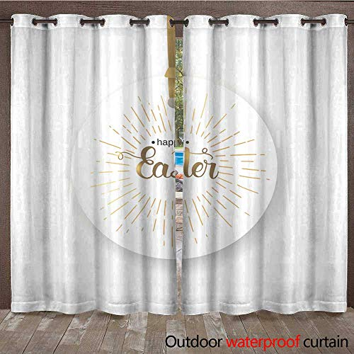 (Outdoor Ultraviolet Protective Curtains Easter Label with Hand Made Trendy Lettering Happy Easter on White Banner Flyer brochure Postcard Website Golden and WHI W72 x L108)