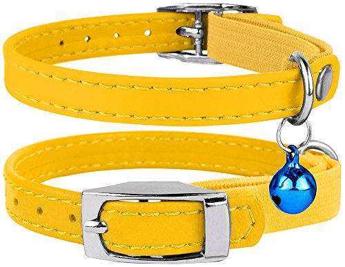 CollarDirect Leather Cat Collar, Cat Safety Collar with Elastic Strap, Kitten Collar for Cat with Bell Black Blue Red Orange Lime Green (Neck Fit 9-11, Yellow)