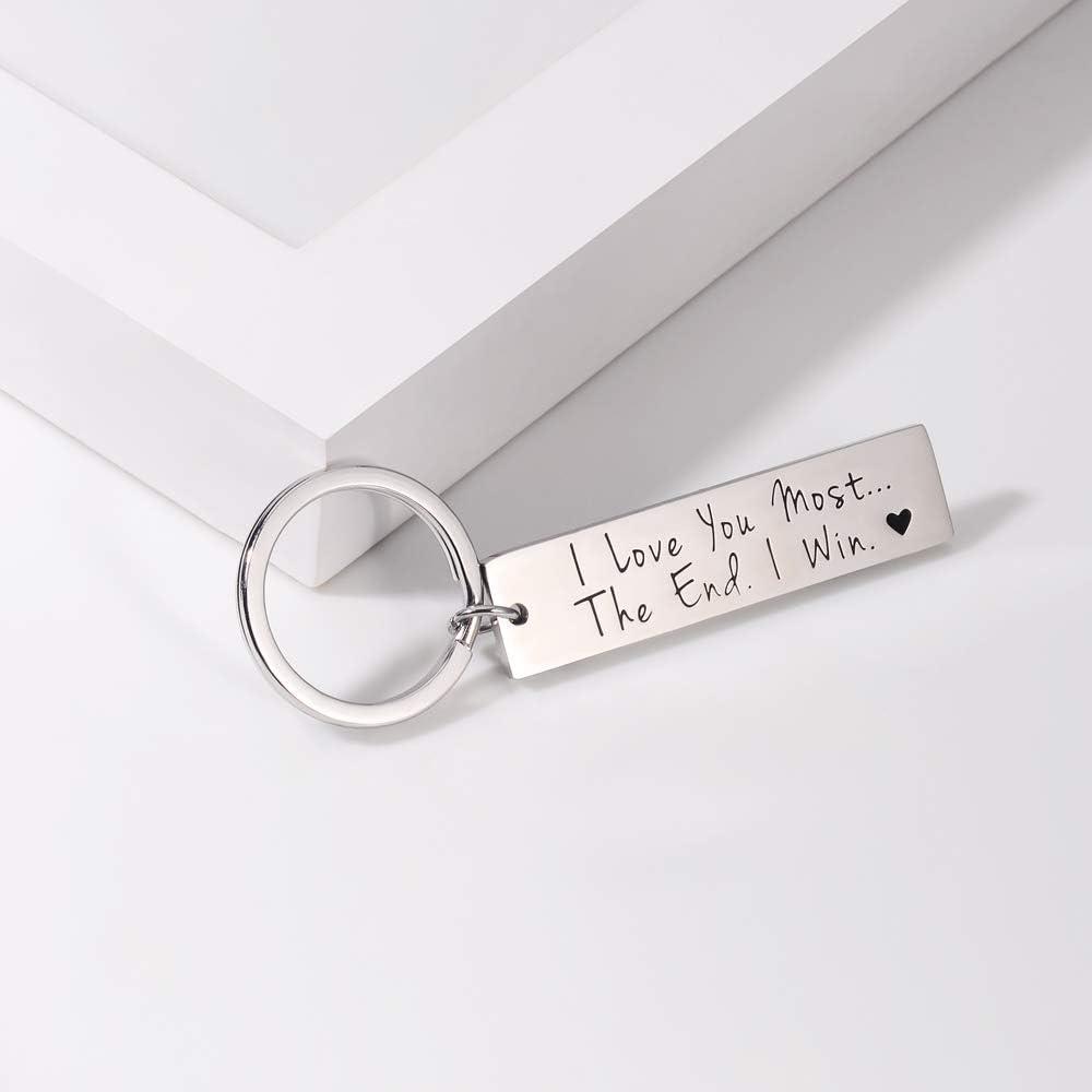 Petit-ami Femmes VU100 Porte-cl/és avec Inscription /« I Love You Most The End I Win /» pour Hommes Cadeau Couples Saint-Valentin
