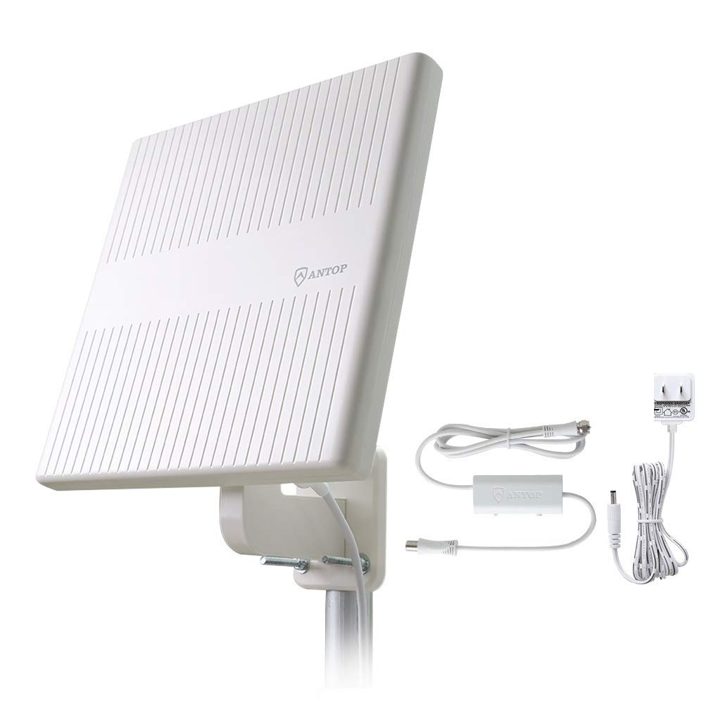 Outdoor TV Antenna, ANTOP 360° Omnidirectional Reception HDTV Antenna 65 Miles with Built-in 4G LTE Filter and Smartpass Amplifier for Indoor,Outdoor,RV,Attic Use, Supports VHF & UHF Signals by ANTOP