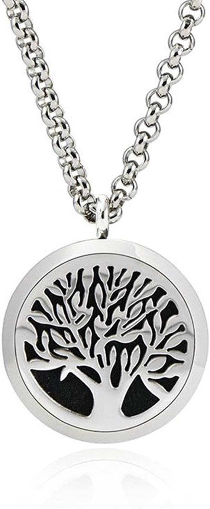 Essential Oil Diffuser Wood Peace Necklace with 24 Chain