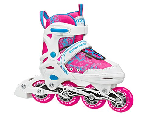 Girls White and Pink Ion Children Adjustable Inline Skates with Aluminum Frame
