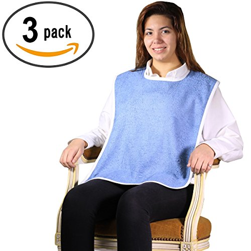 (Terry Cloth Adult Bib with Velcro Closure - 3 Pack (Blue))