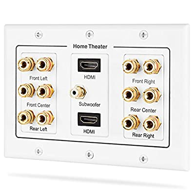 Fosmon HD8005 [3-Gang 6.1 Surround Distribution] Home Theater Copper Banana Binding Post by Fosmon Distributing, LLC