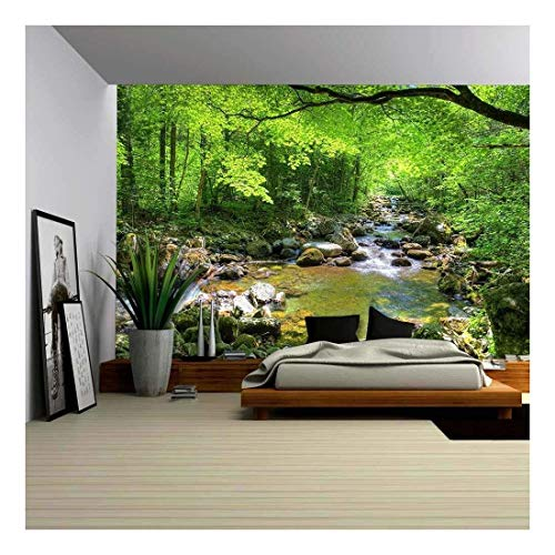 - Fall Forest Stream Smolny in Russian Primorye Reserve - Removable Wall Mural | Self-Adhesive Large Wallpaper - 66x96 inches