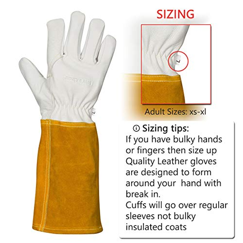 MIG TIG Welding Gloves | 16'' Soft Leather | Kevlar Stitching & Hand Lining Weld Glove (Medium) by Suse's Kinder (Image #2)