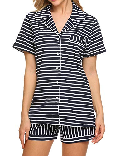 Ekouaer Pajama Set Womens Short Sleeve Sleepwear Cotton Pjs(Blue and White Stripe, Medium)