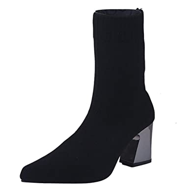 78e74dba9b58b T-JULY Women's Boots Black High Heel Boot Socks Mid Calf Pointed Toe Boots  Stretch Slip On Winter Female Thin Shoes