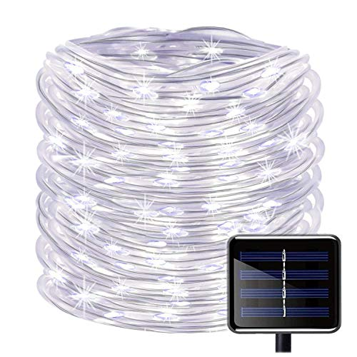WONFAST 100 LEDs Solar Rope String Lights, Waterproof 39ft/12M Copper Wire Outdoor Tube Fairy String Lights for Christmas Garden Yard Path Fence Tree Backyard (White)