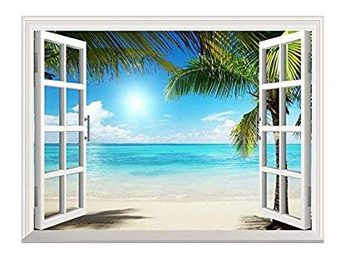 White Sand Beach with Palm Tree Open Window Mural Wall Sticker