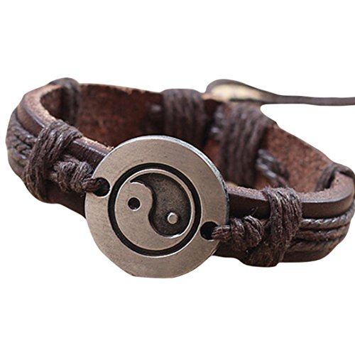 Clearance ! Bracelets, Ninasill Exclusive Fashion Bracelet Yin And Yang weave Men Women Wristband (Black) (Rubber Weave Bracelet)