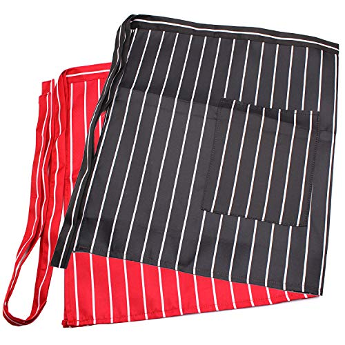 2 Pack Waist Apron with One Pocket Black & Red Stripes Professional Server Apron-Long Ties Cooking Baking Half Apron for Women Men Kids Chef Bartender Waiter in Home Kitchen Restaurant Coffee shop