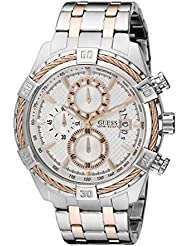 GUESS Mens U0522G4 Stainless Steel & Rose Gold-Tone Chronograph Watch with Date Function