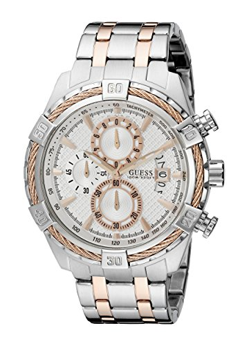 GUESS Men's U0522G4 Stainless Steel & Rose Gold-Tone Chronograph Watch with Date Function