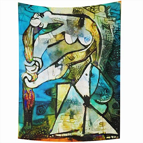 Ahawoso Tapestry Wall Hanging 60x80 Inches Pattern Alternative Famous Paintings Ink by Picasso Abstract Watercolor Angles Nouveau Style Home Decor Tapestries Art for Living Room Bedroom Dorm