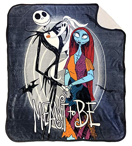 Disney Nightmare Before Christmas Moonlight Madness Baby Sherpa Throw Blanket - Measures 50 x 60 inches, Kids Bedding Features Jack Skellington & Sally - Super Soft - (Official Disney Product) (Nightmare Christmas Before The Gifts)