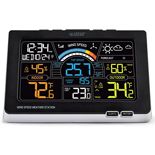 La Crosse Technology 327-1414W Color Wireless Wind Speed Weather Station, Black