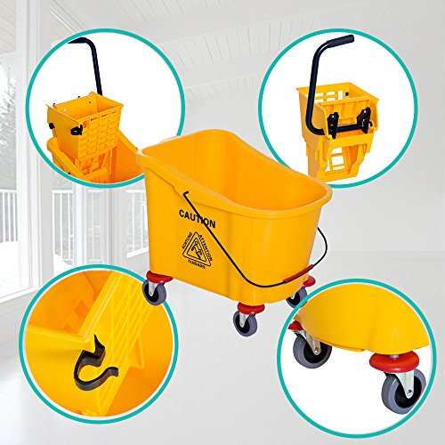 Cart Janitor Microfiber (Rolling Utility Bucket Durable Plastic Molded Body And Powder-Coated Steel Handle Detachable Wringer Makes Lifting And Emptying Easier 11 Gallon Mop Bucket With Wringer on Wheels Yellow Color)