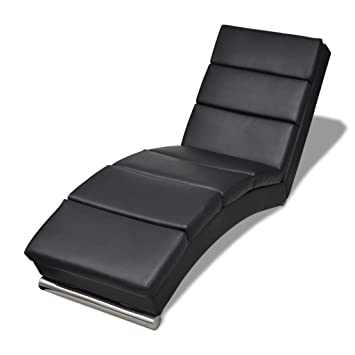 Chaise Longue Chair Sofa Modern Artificial Leather Black Pillow Quality Relaxing