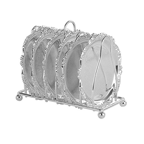 HQdeal Mini Stainless Steel Decorative Plates Set Cake/ Dessert Serving Trays Set Round with Plates Stands Storage Rack Pack of 7 Silver (Steel Cake Tray)