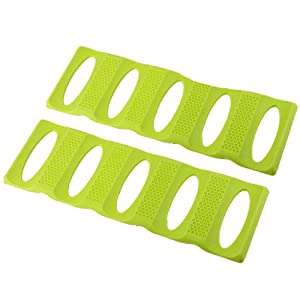 Webake 2 pack Bottle Stacking Mat, Foldable Silicone Bottle and Can Stacker, Can Holder Rack Space Saver Organizer for Refrigerator, Pantry, Countertop, Cabinet (Green)