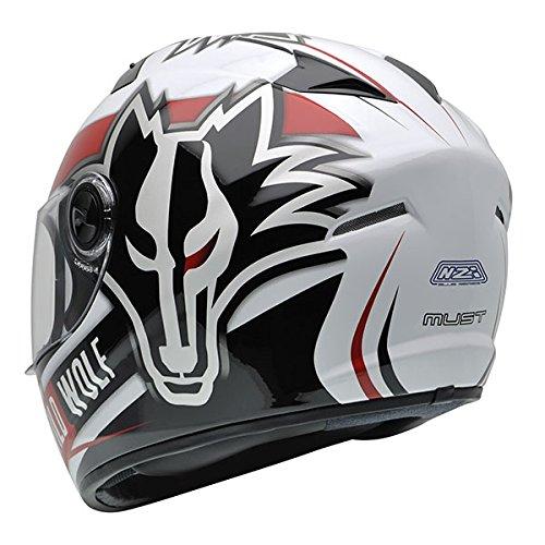 Amazon.es: NZI 150200G607 Must Wild Wolf Casco de Moto, Color Blanco, Negro y Rojo, Talla 58-59 (L)
