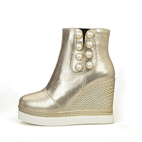 Gold Womens Platform High Heel 1TO9 Rain Boots Novelty Flatform Urethane zSRxvqwda