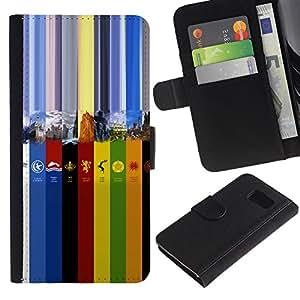 """A-type (Colores GOT"""") Colorida Impresión Funda Cuero Monedero Caja Bolsa Cubierta Caja Piel Card Slots Para Samsung Galaxy S6"""
