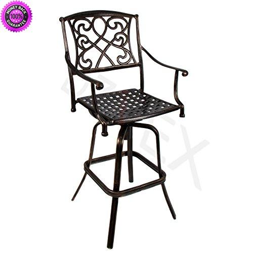 Cheap  DzVeX Outdoor Cast Aluminum Swivel Bar stool Patio Furniture Antique Copper Design..