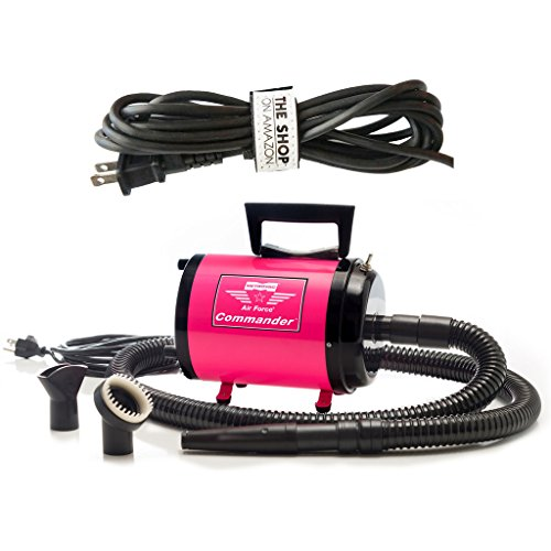 - Dog Dryer Metrovac's Air Force Commander Professional Dog Grooming Pet Dryer - Portable Hair Dryer, Variable Speed 4.0HP Motor - Ideal for Double-Coated Dogs - 5 Unique Colors (Pink)