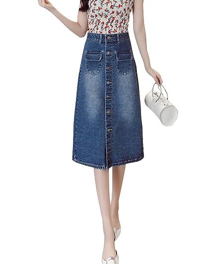 e2dc765c90dc Jupe Crayon en Jean avec Bouton Devant - Taille Haute - Jupe Mi Longue -  Femme