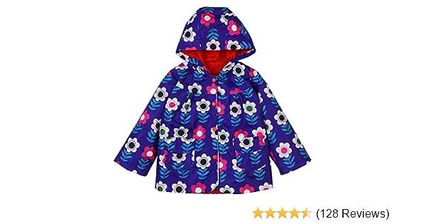 , Navy Blue LZH Baby Girls Boys Waterproof Raincoat Windbreaker Hooded Bomber Jacket for Age 4-5Y 120